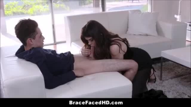 Teen monica b sucks cock and gets it in ass