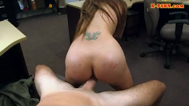 Hot blonde babe pawns her pussy and gets fucked by pawn man