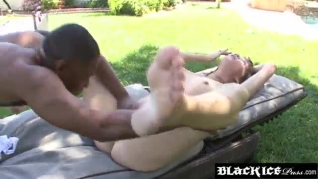 Massive black dick inside a tight white ass