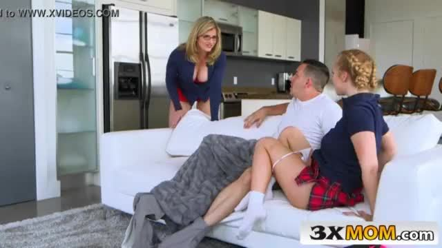 Milf and stepdaughter having group sex