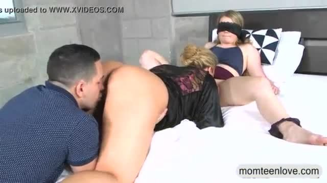 Dude catches milf licking his gfs pussy in the bedroom