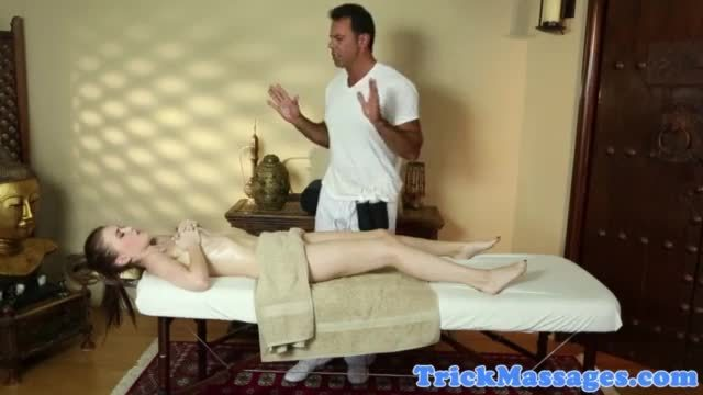 Cristi ann does a wet oily blowjob laying on the massage table