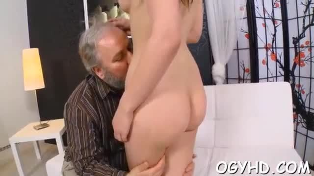 Young gal gets her snatch ready for old hard cock