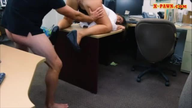 Cute girl fucked in the backroom to get her big silver chain