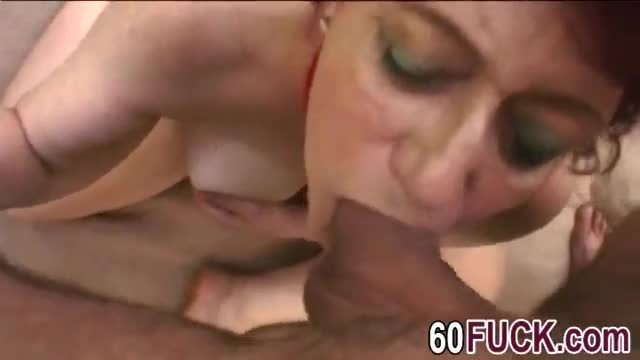 Chubby granny tamara sucking long cock in woods