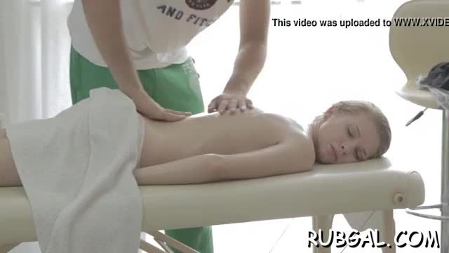 Sexy oralsex is performed inside the massage room