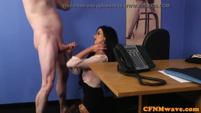 Office femdom facialized after fucking