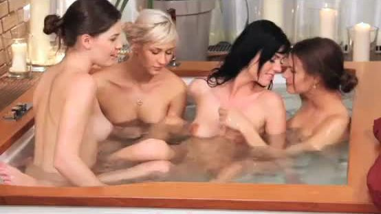 Four lesbian girls in interracial action