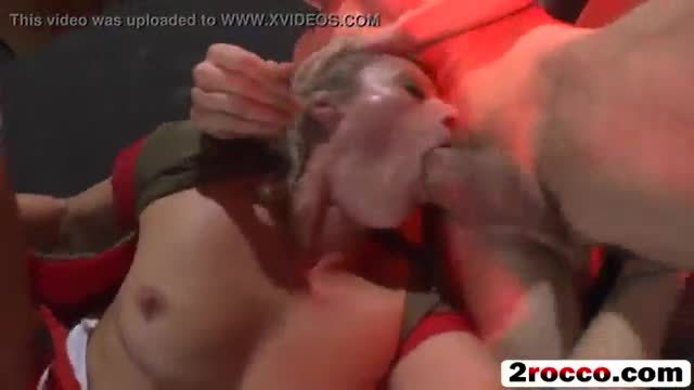 Rough threesome fucking with nasty blonde with big tits and huge cocked studs